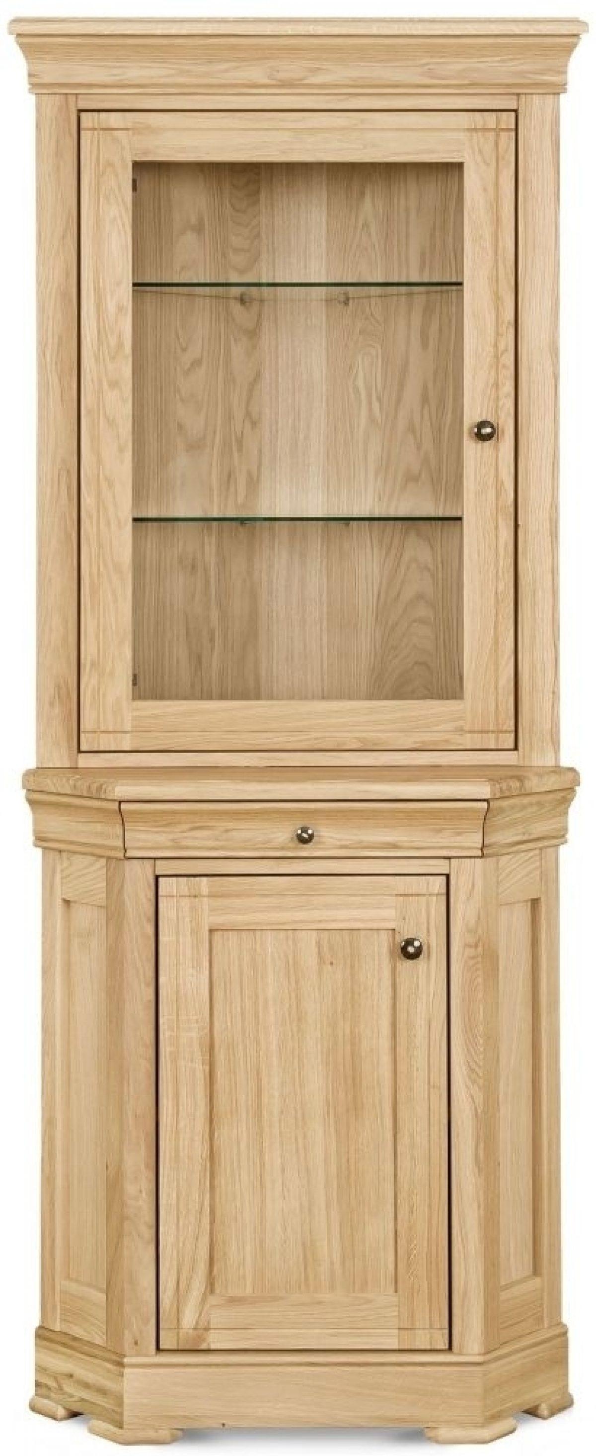 3 Clemence Richard Moreno Oak 2 Door Corner Display Cabinet