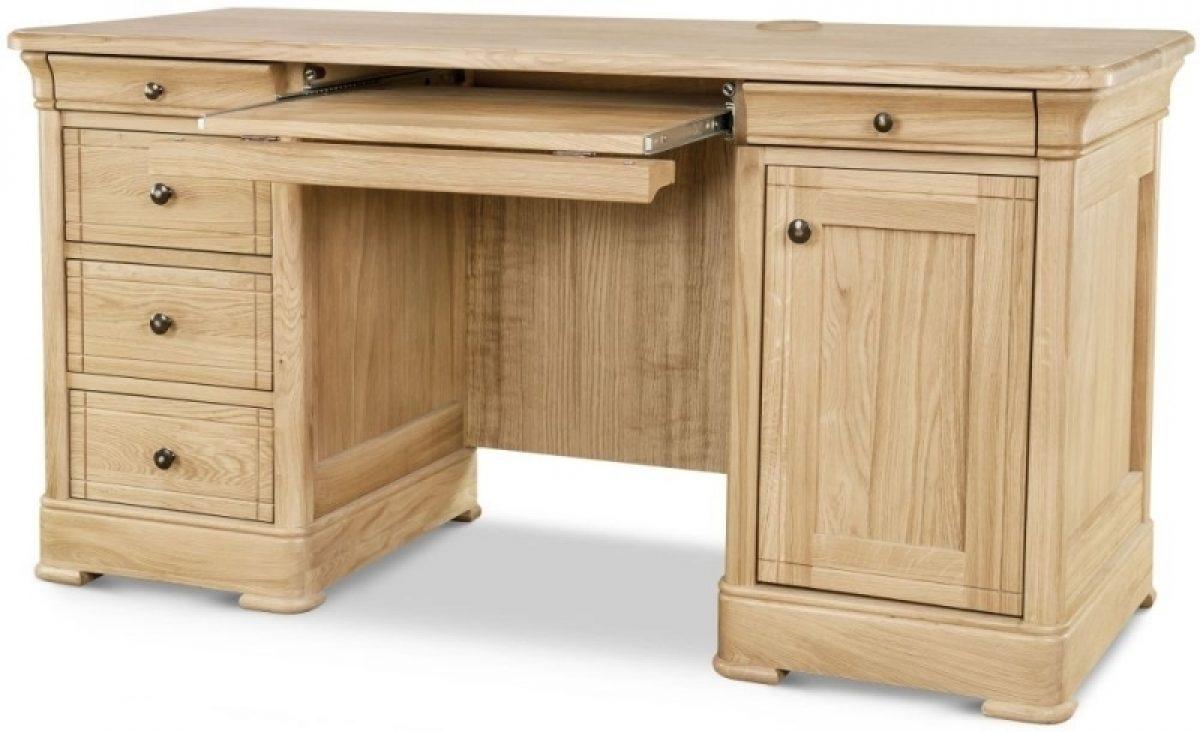 4 Clemence Richard Moreno Oak 1 Door 5 Drawer Double Pedestal Desk 01