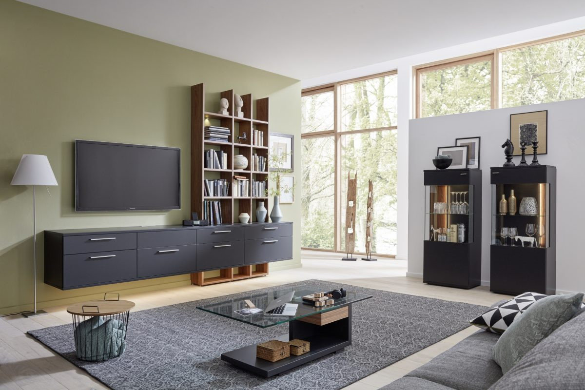 AT93 U8 25 R U8 25 L CT404 110 in anthracite lacquer and natural walnut