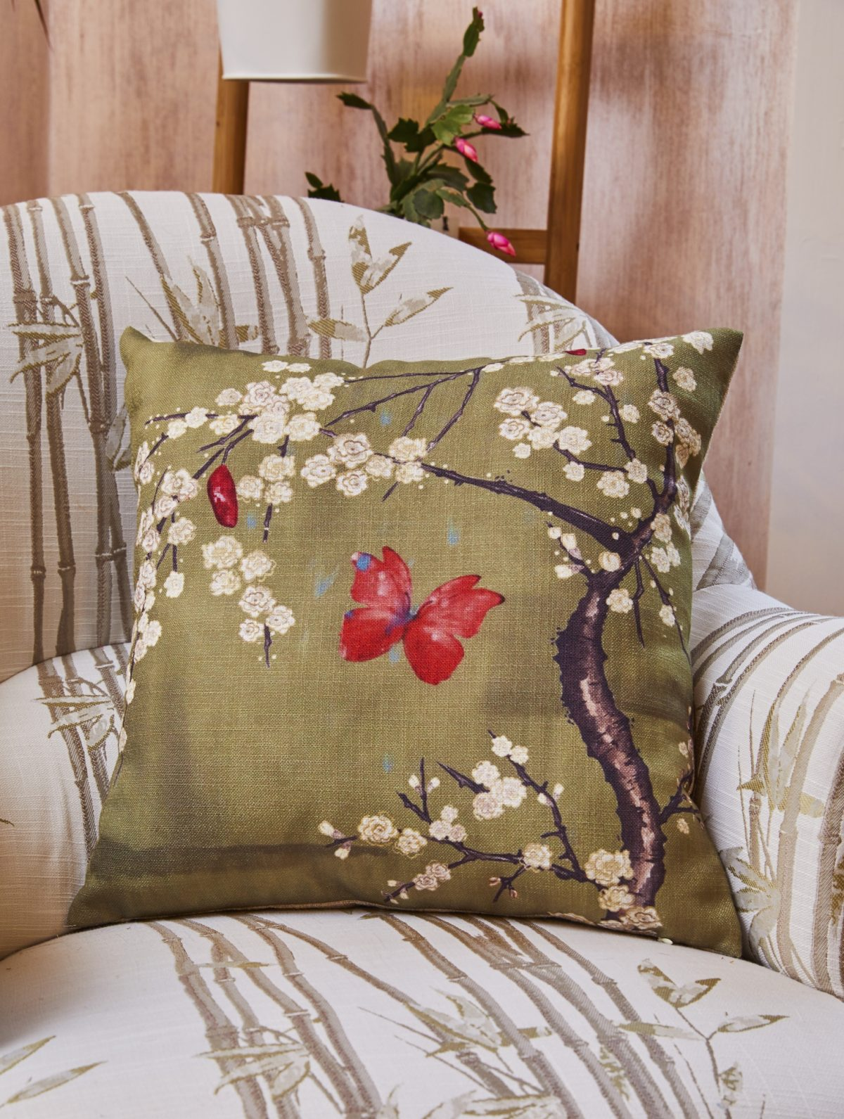 BLOSSOM AND BUTTERFLY CUSHION BASEL