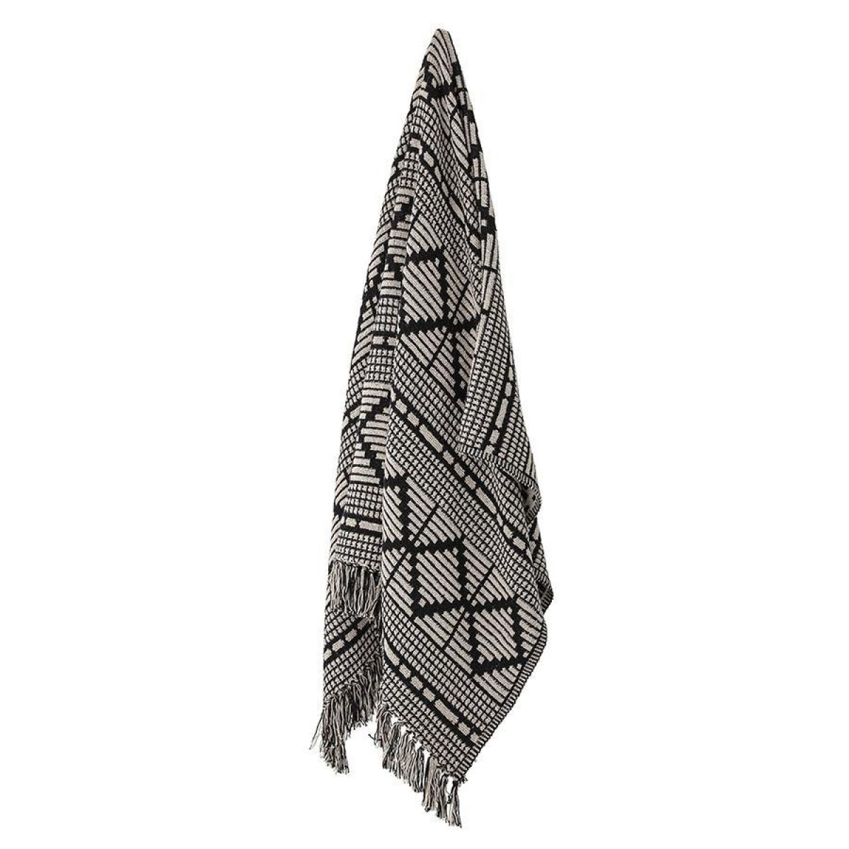 Bloomingville Recycled Cotton Mix Blanket Throw Black White82049671 3 900x900