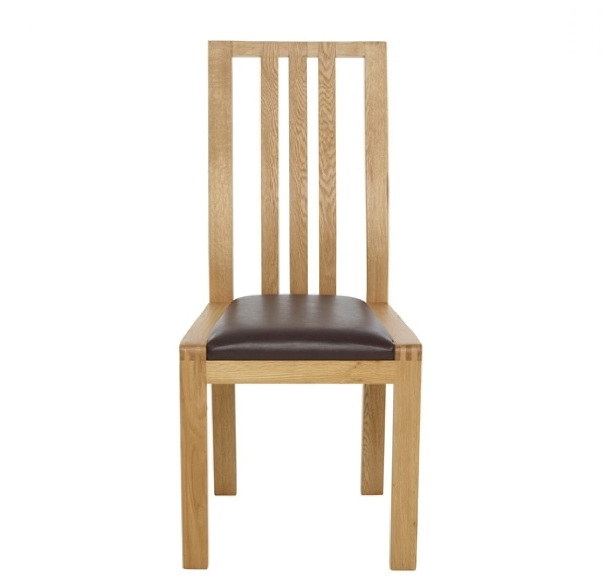 Bosco 1383 BFL dining chair brown faux leather cutout Front 1 CM Oak CM