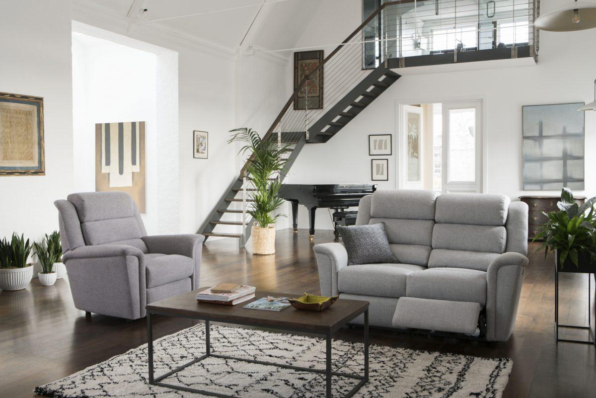 Colorado 2 Str Recliner Sofa in Atlantis Indigo Colorado Chair in Astrid Stone DSC8409