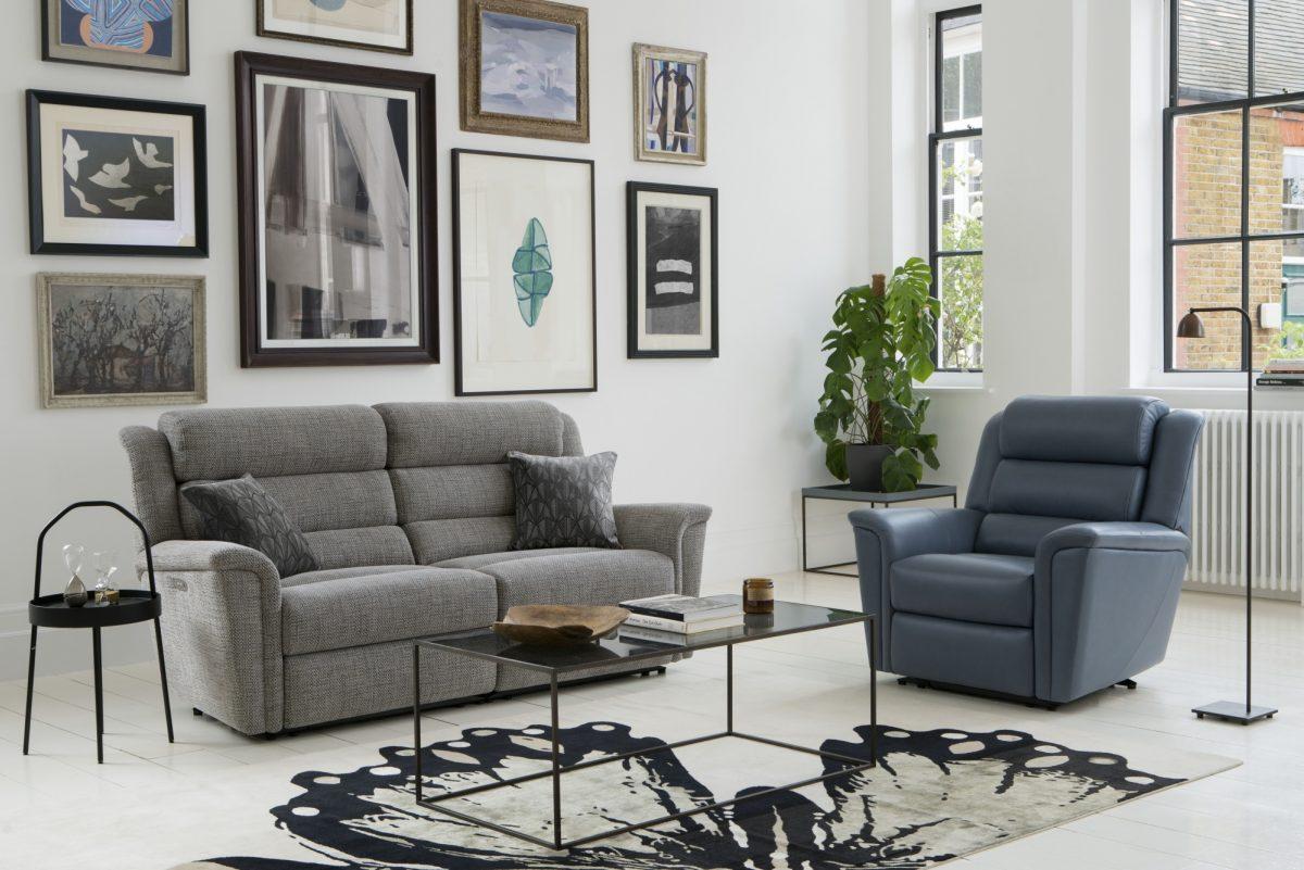 Colorado 2 Str Recliner Sofa in Latitude Grey Colorado Pwr Rcl Chair in Roma Storm DSC8448