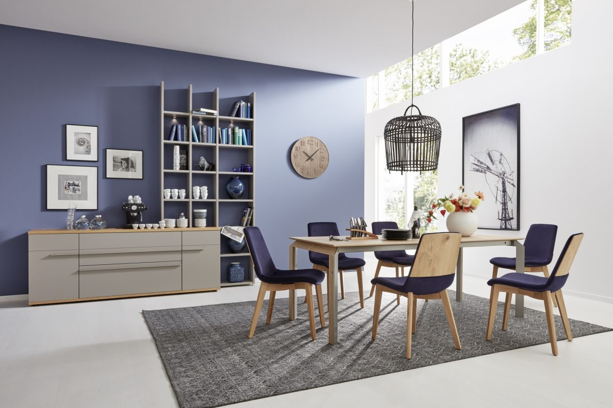 ET521 200 in honey oak timber and Lina chairs in honey oak AT124 in fango lacquer and honey oak timber