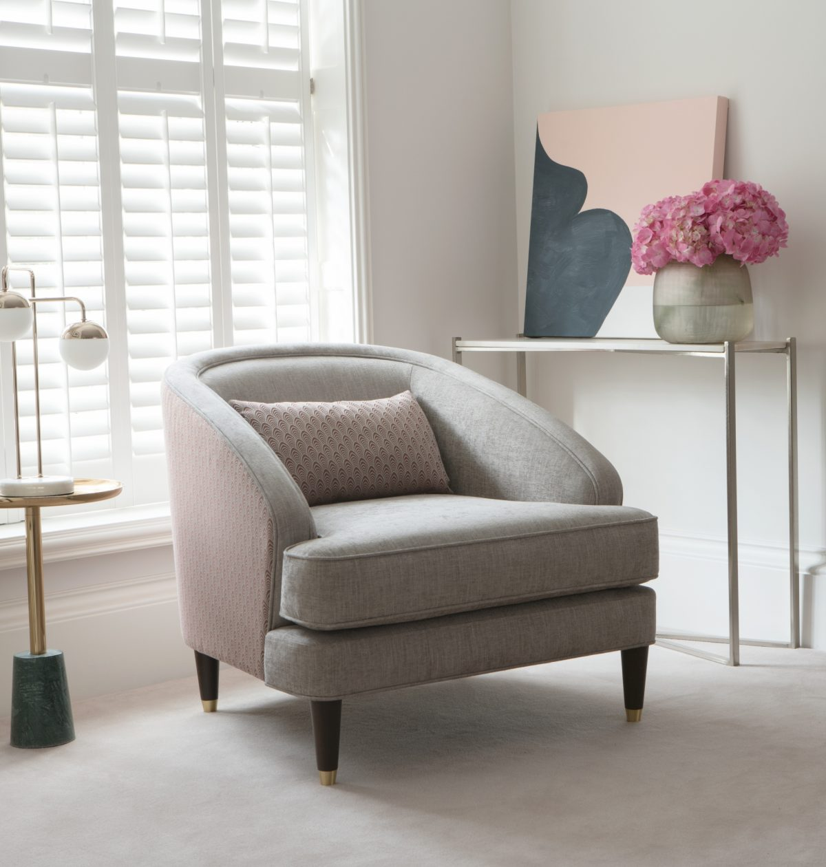 Fitzroy Chair in Bexley Smoke and Blomfield Auburn 1