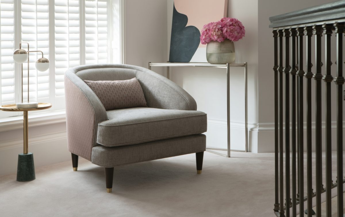 Fitzroy Chair in Bexley Smoke and Blomfield Auburn 2