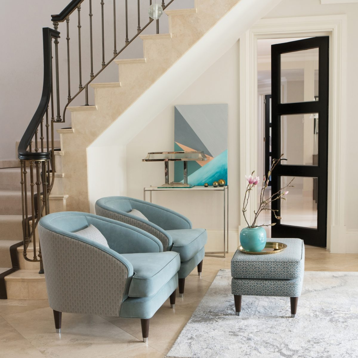 Fitzroy Chair in Bracklyn Teal and Blomfield Teal Fitzroy Footstool in Hampstead Teal