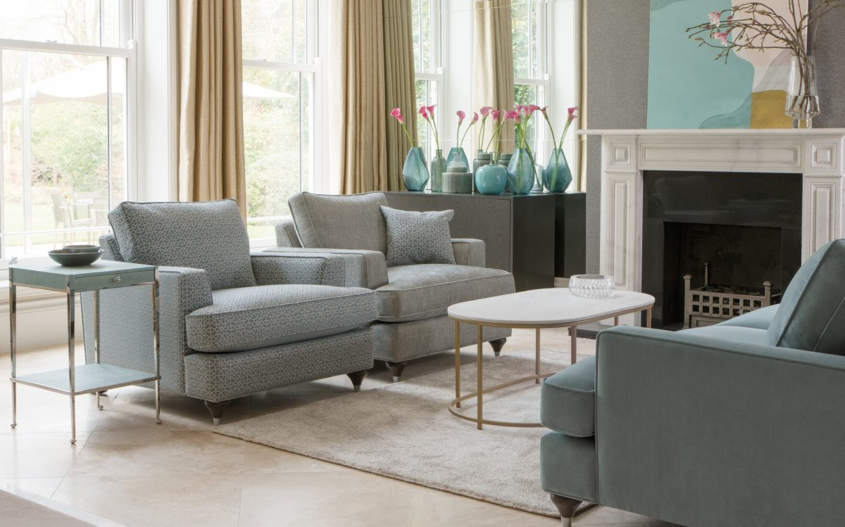 Hoxton Chairs in Hampstead Teal and Bexley Sea Spray Hoxton Grands Sofa in Bracklyn Teal