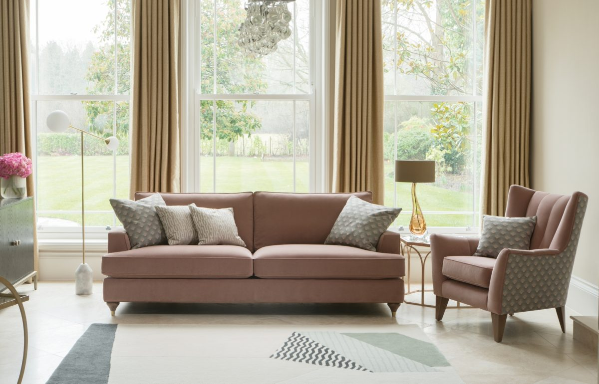 Hoxton Grand Sofa in Bracklyn Blush Charlotte Blush and Wenlock Blush Shoreditch Chair in Bracklyn Blush and Charlotte Blush