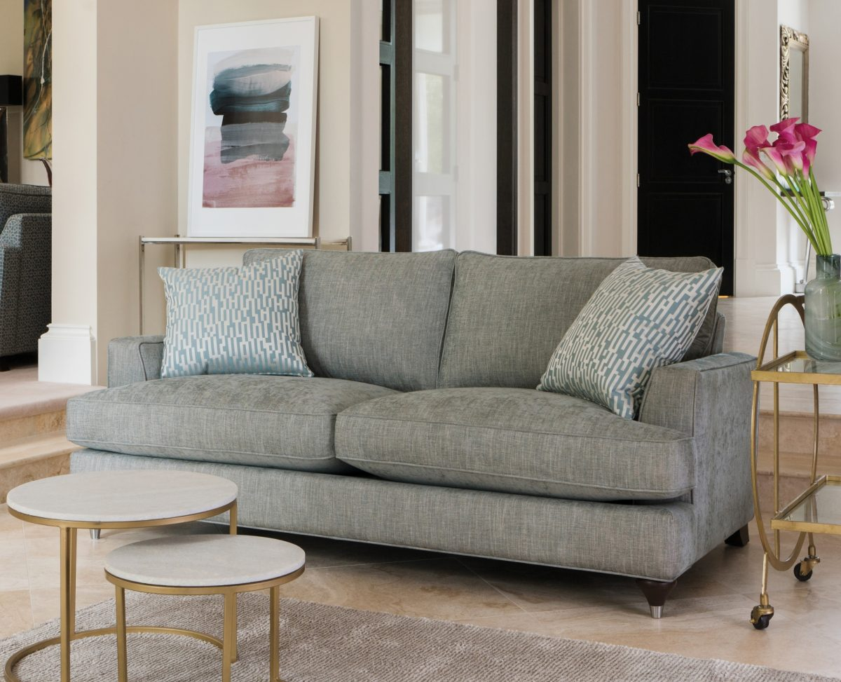 Hoxton Two Seater Sofa in Bexley Sea Spray large scatters in Wenlock Teal