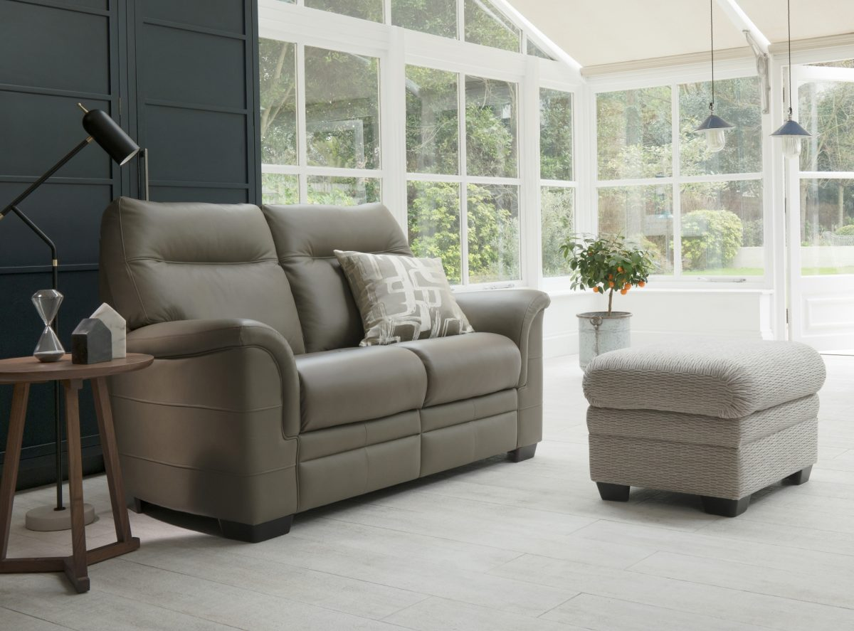Hudson Two Seater Sofa In Como Sage Lifestyle Storage Footstool In Fulham Sage