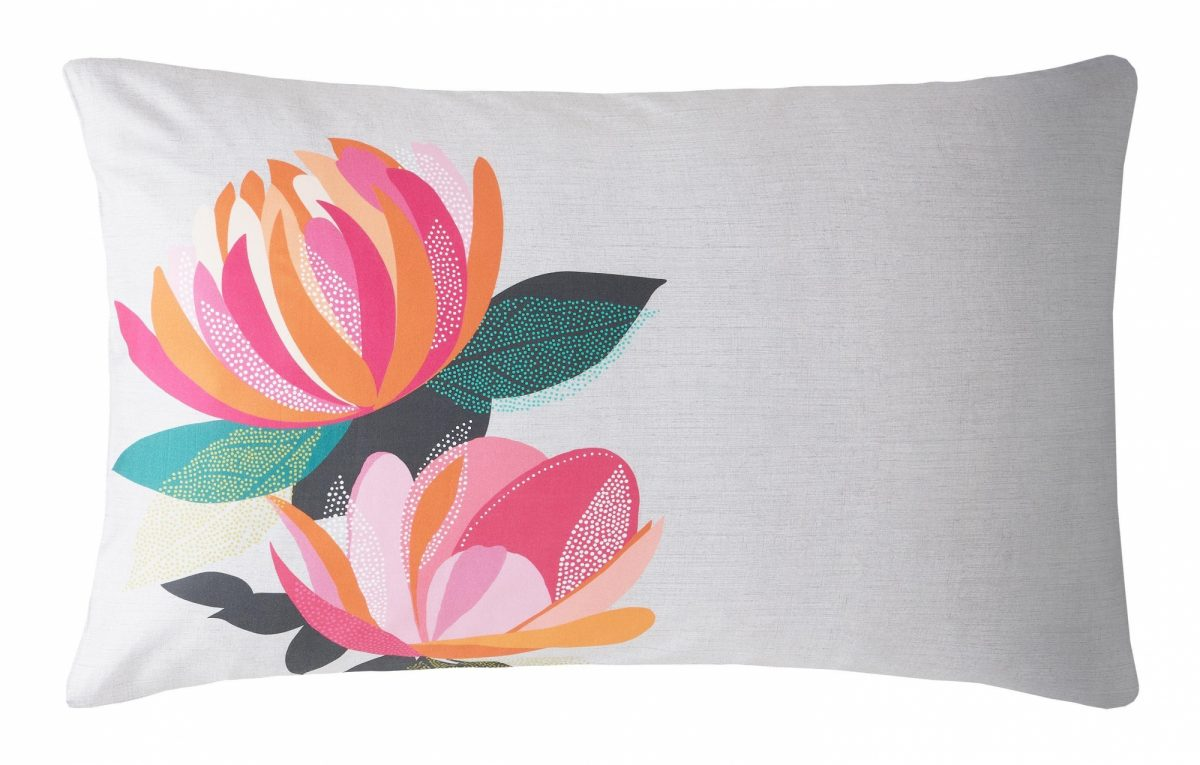 Peony Petals Grey Left Pillowcase 1