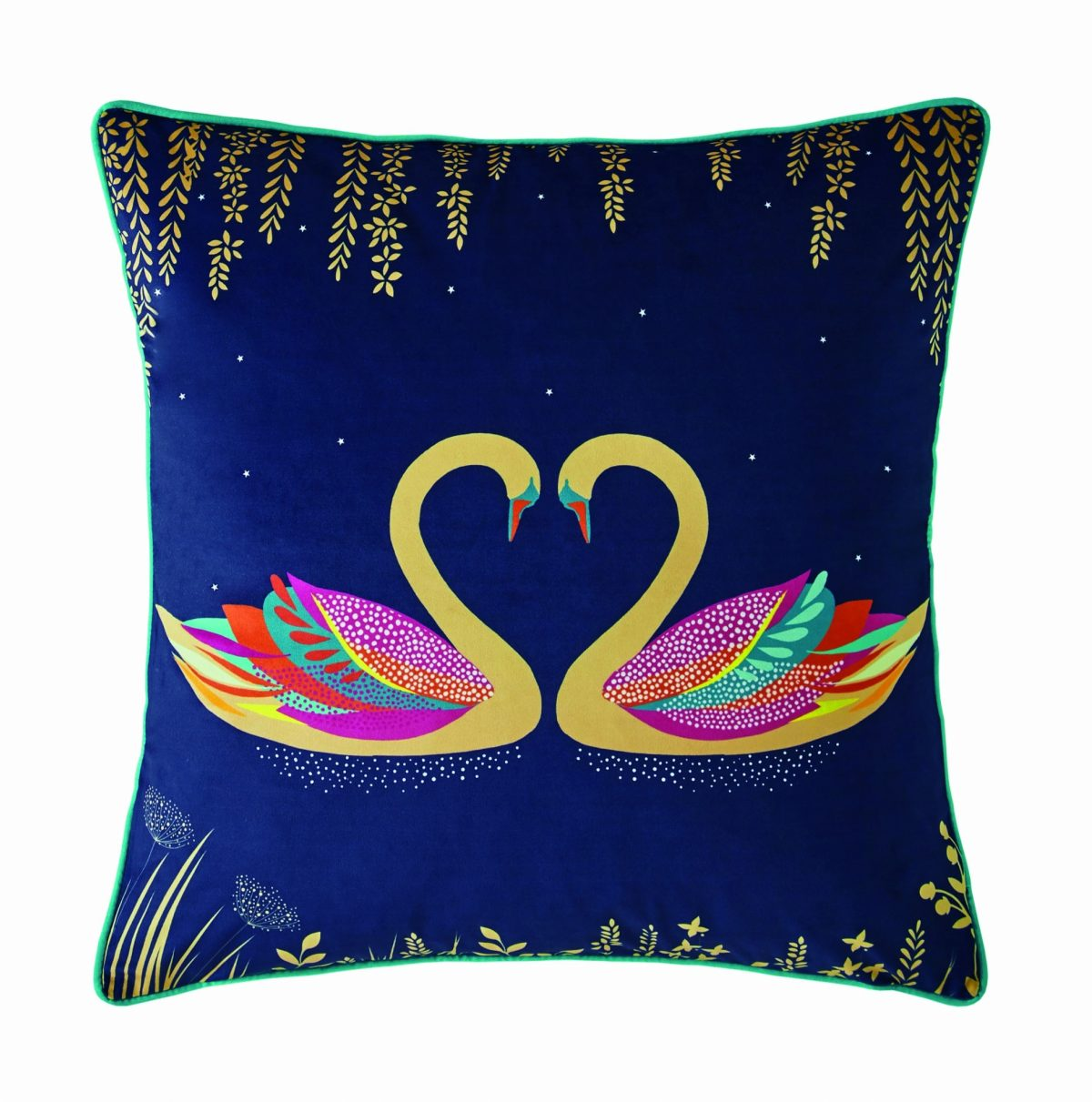 Swan Navy Cushion 50x50 1
