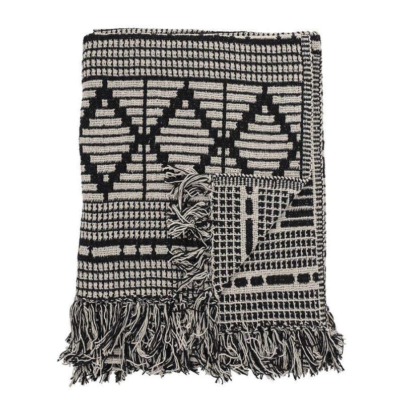 Bloomingville Recycled Cotton Mix Blanket Throw Black White82049671 1 900x900