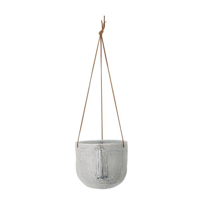 Grey Stoneware hanging flowerpot 1