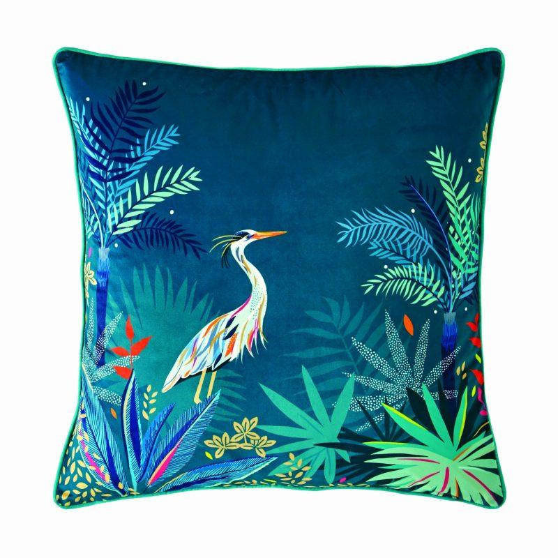 Heron Teal Cushion 50x50 1