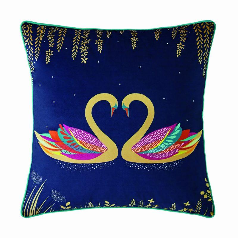 Swan Navy Cushion 50x50 1