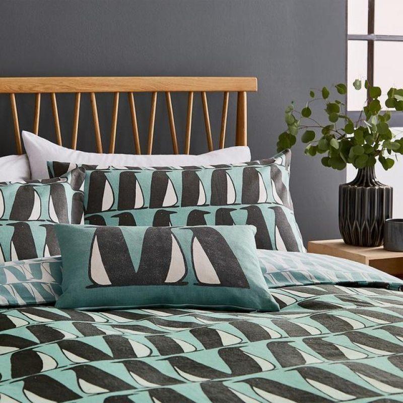 Aqua cotton panama pedro cushion