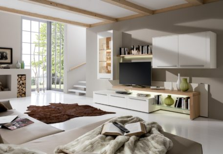 Be19 In White Lacquer And Beech Veneer