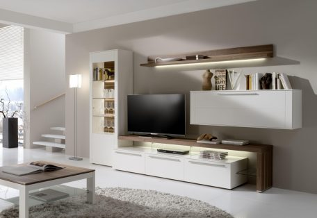 BE23 BE61 CTH90 B in white lacquer and natural walnut