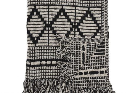 Bloomingville Recycled Cotton Mix Blanket Throw Black White82049671 1 900x900