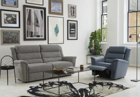 Colorado 2 Str Recliner Sofa in Latitude Grey Colorado Pwr Rcl Chair in Roma Storm DSC8443