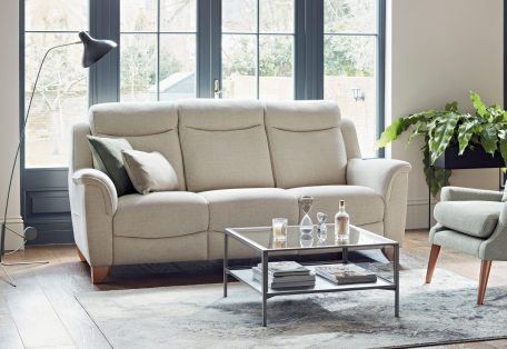 Manhattan Three Seater Sofa in Capture Natural Sophie Wing Chair in Fusion Sage